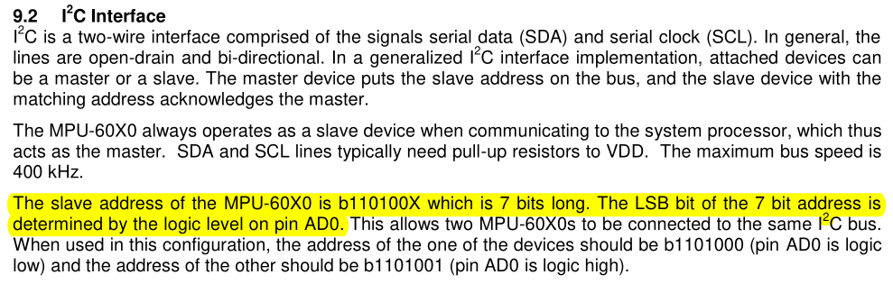 Section 9.2 of the product specification datasheet is about the I2C interface.