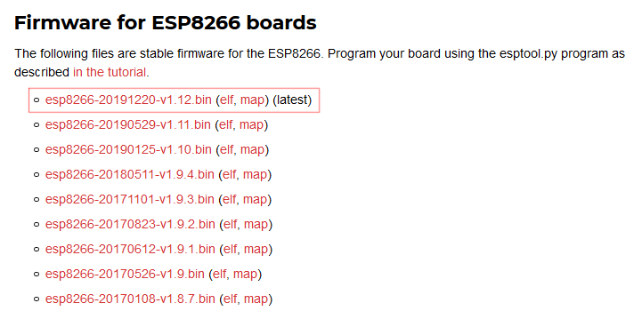 Download the latest MicroPython firmware for ESP8266 microcontrollers.