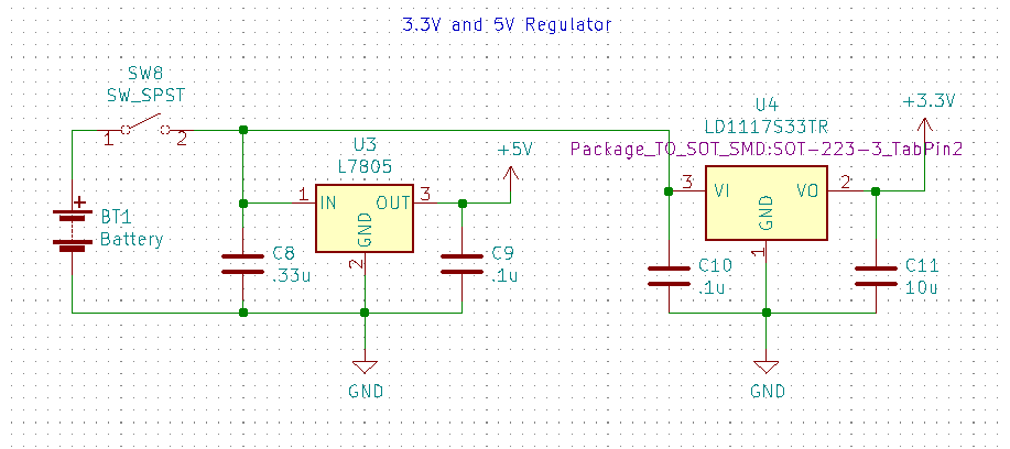 9 volt battery with l7805 and ld1117s33 regulators and decoupling capacitors.